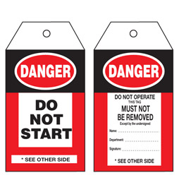 Danger Do Not Start Tag - STA001