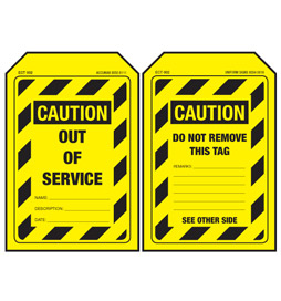 Economy Caution Tag - Out Of Service - ECT002