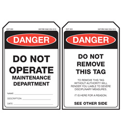 Economy Danger Tag - Maintenance Dept - EDT003