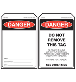 Economy Danger Tag - Blank - EDT005