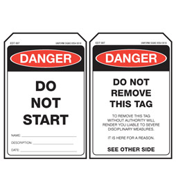 Economy Danger Tag - Do Not Start - EDT007