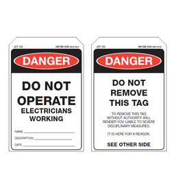 Economy Danger Tag - Electricians Working - EDT002